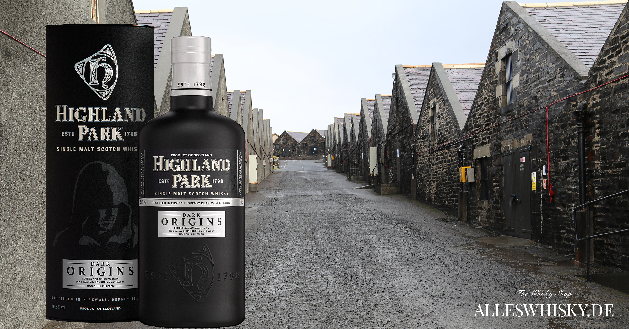 Highland Park Dark Origins 46,8% 0,7 Liter mit den Warehouses in Kirkwall