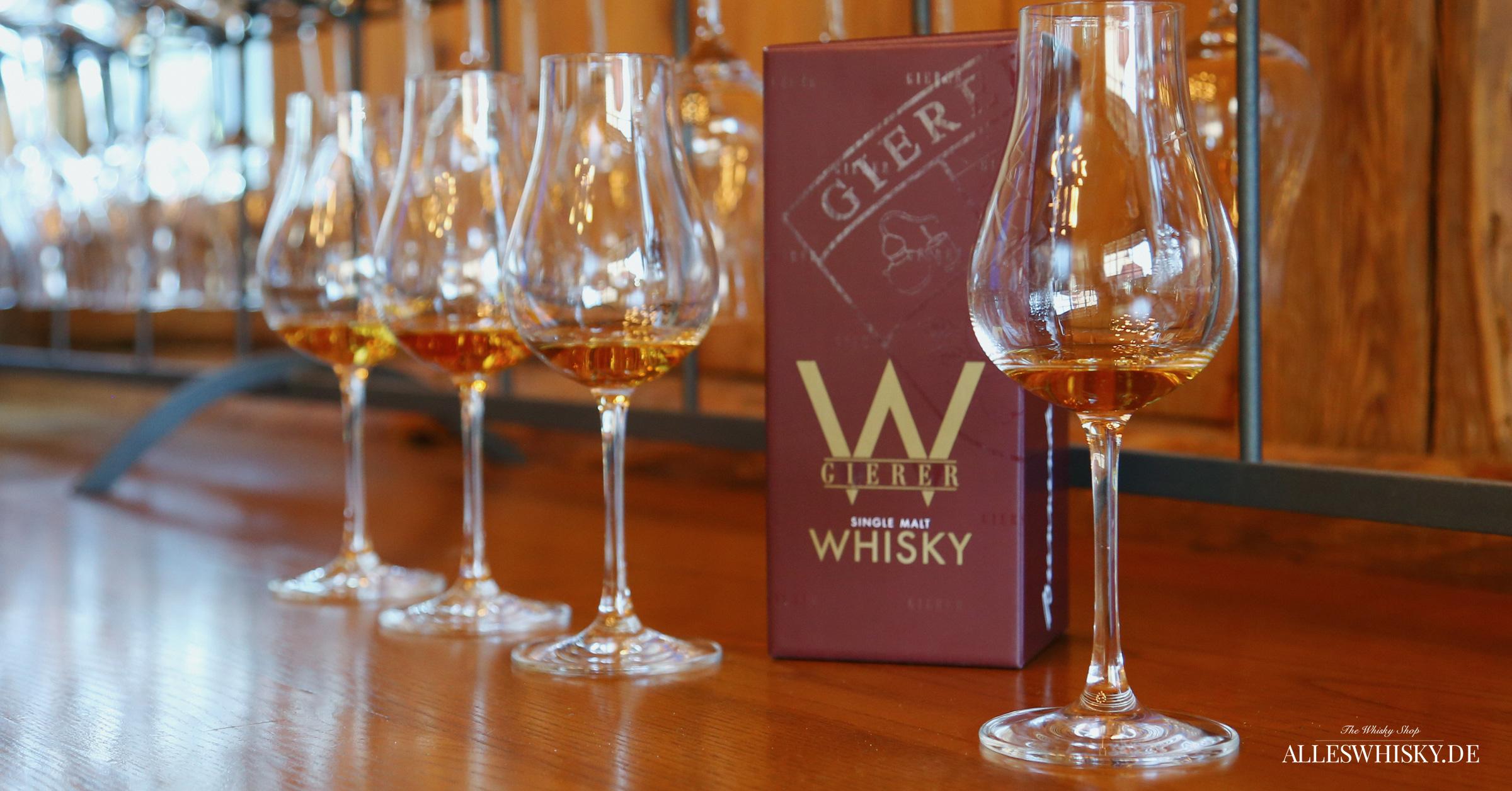 Gierer Whisky Präsentation mit Nosing Gläsern