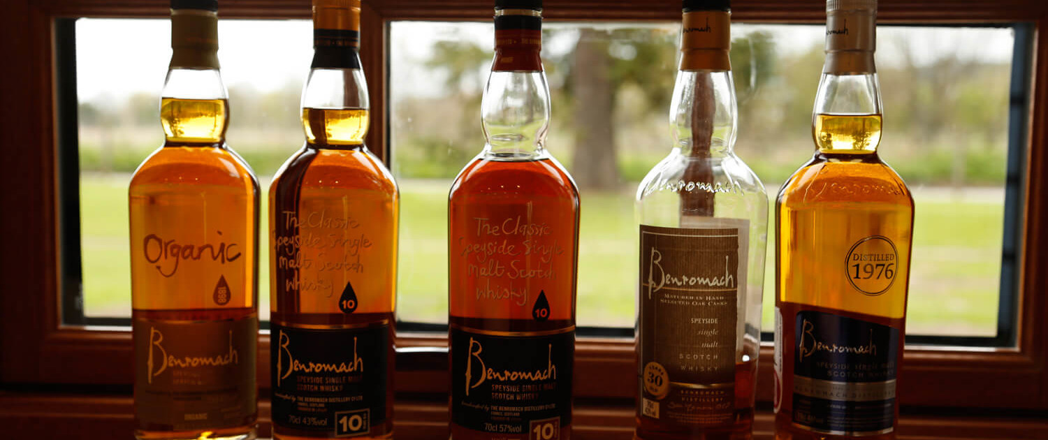 Benromach Visitor Centre - Arrangement Flaschen