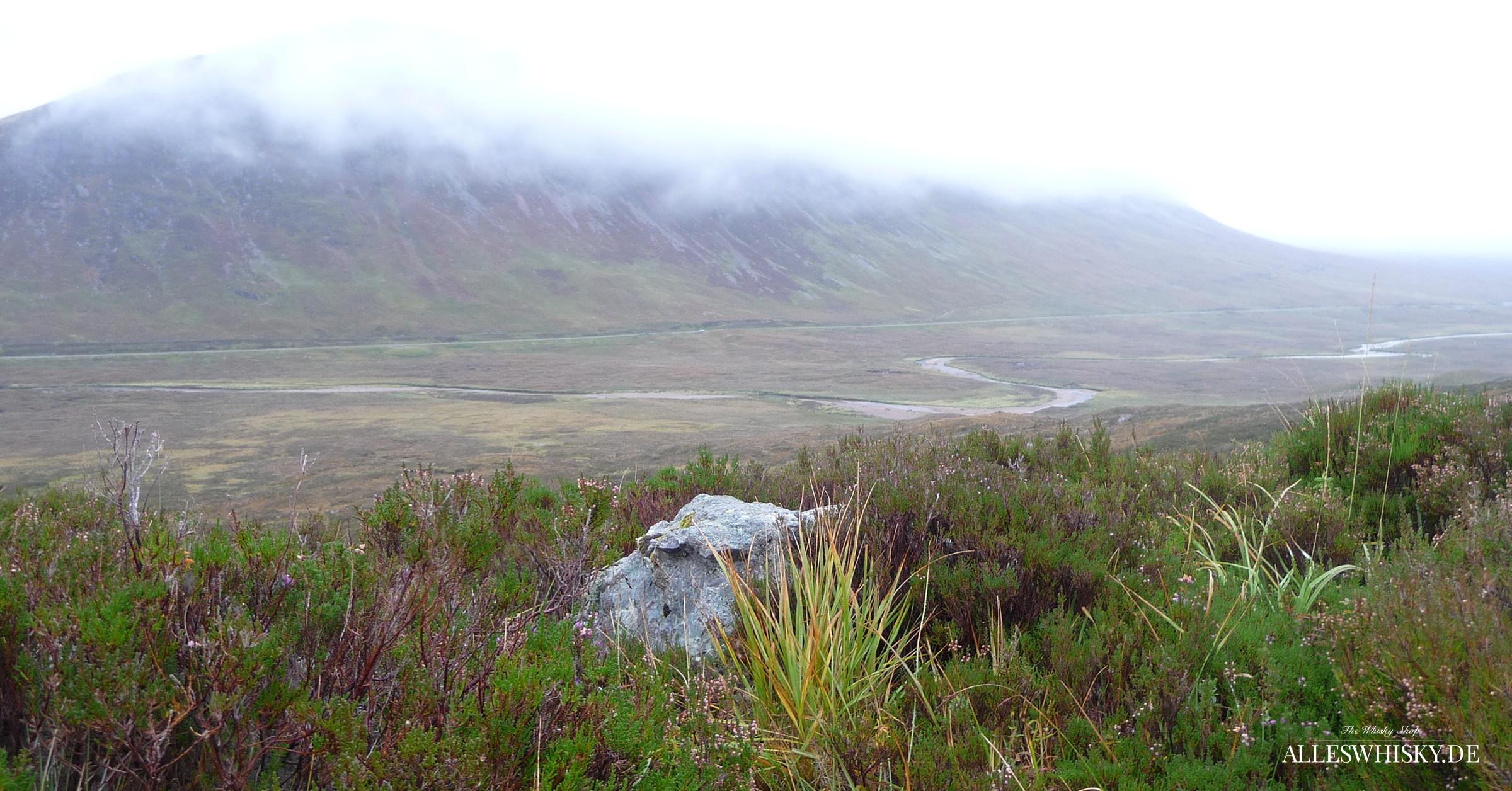 Buachaille Etive Mòr Tal mit Blick auf die Straße A82