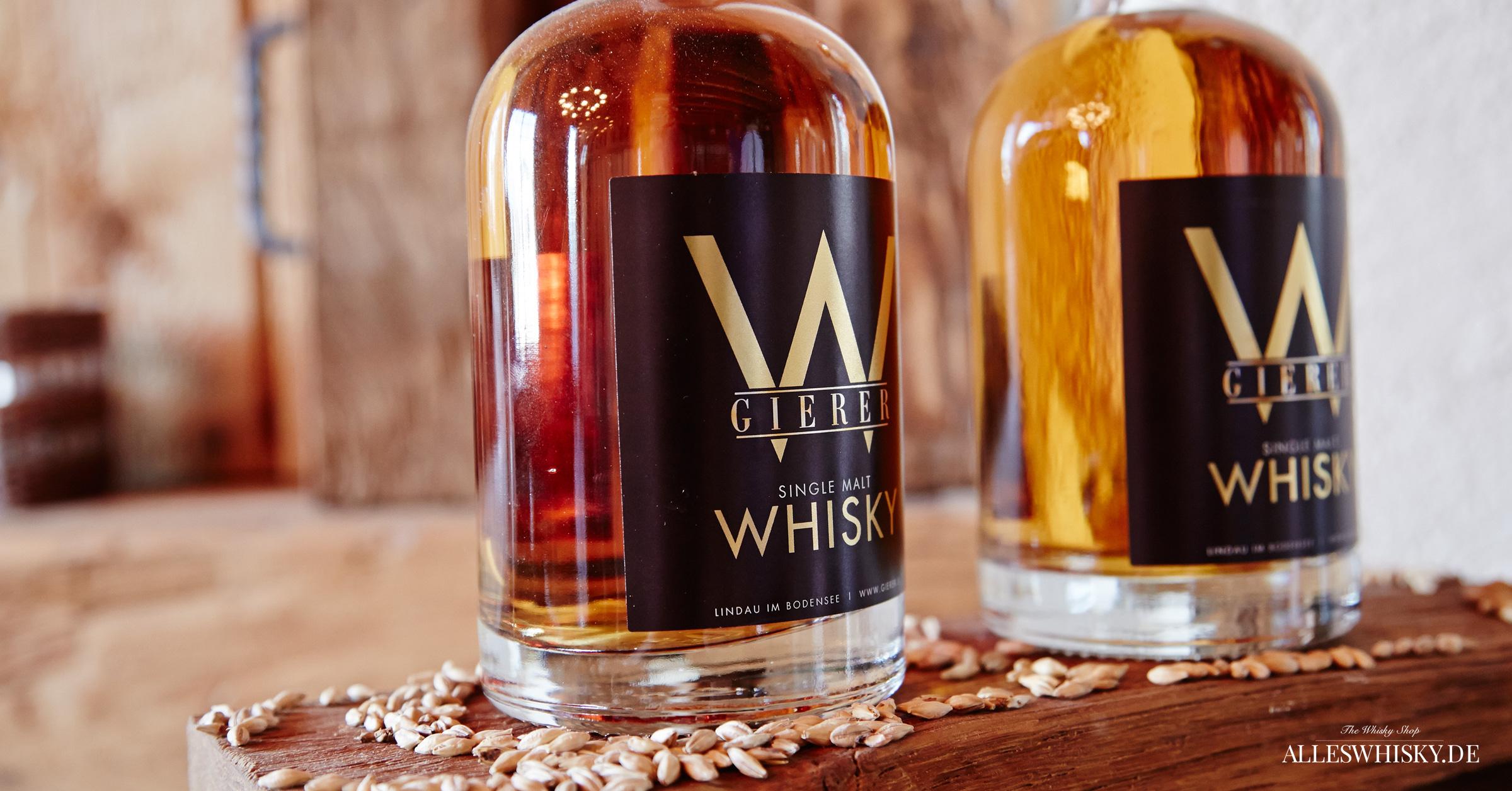 Gierer Whisky Flaschen Präsentation im Verkaufsraum