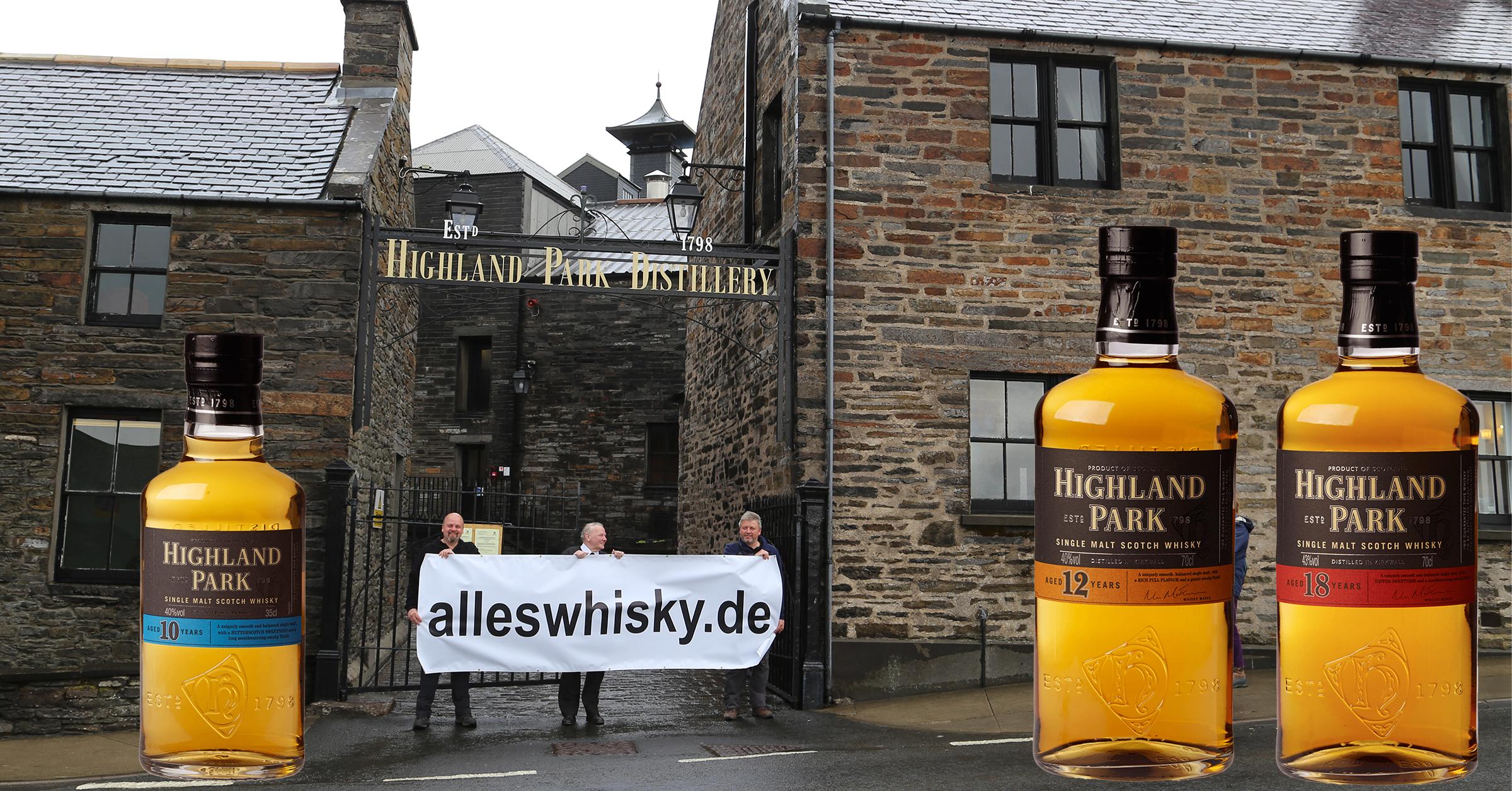 Highland Park Produktpalette mit dem 10 Jahre Halbe Flasche und dem 12 und 18 Jahre Single Malt Whisky