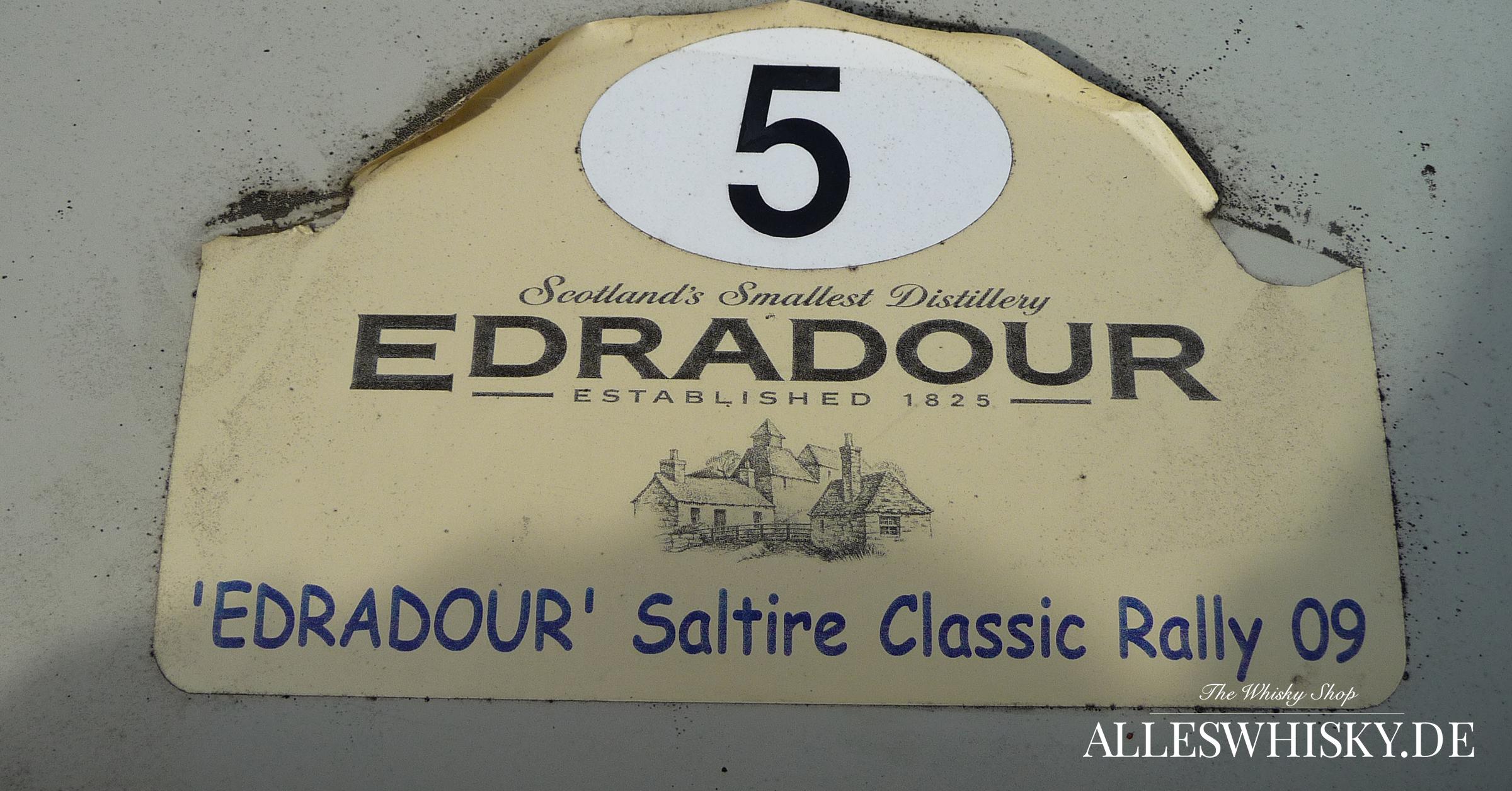 Edradour Whisky Brennerei Trabant Rallye Schild Oktober 2001